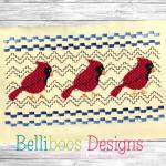 Cardinal Faux Smocking Embroidery Design