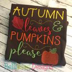 Leaves and Pumpkins Embroidery Saying